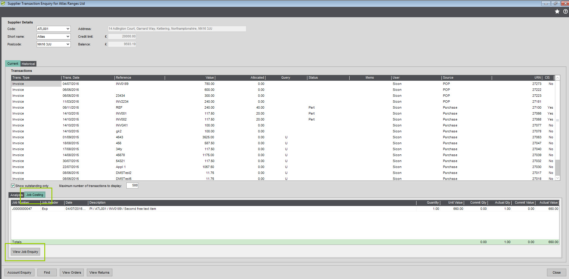 job costing help and user guide sage 200 sicon sicon job costing help and user guide supplier transaction enquiry screen