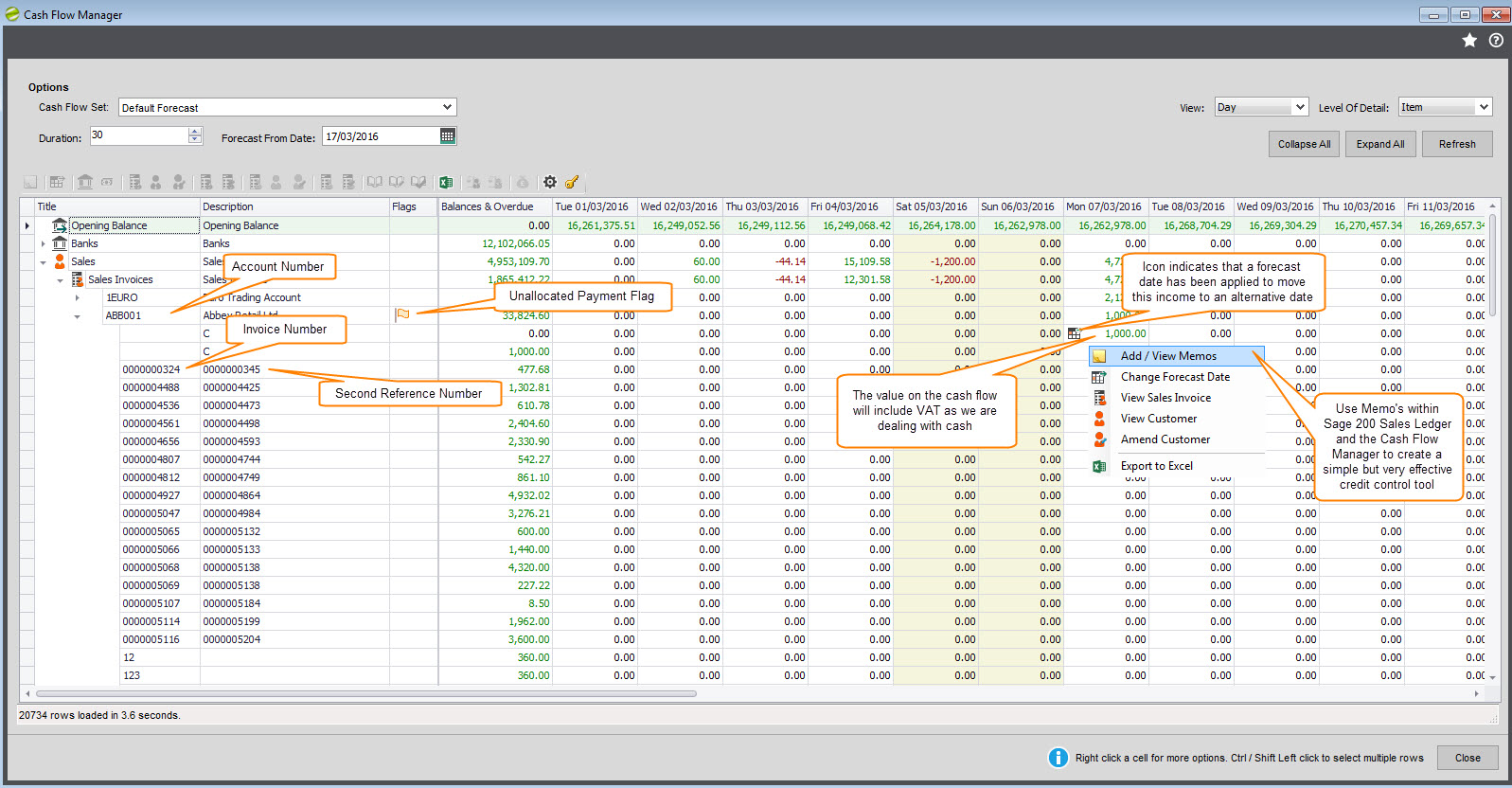 cash flow manager help and user guide sicon cash flow s invoices drill down definition
